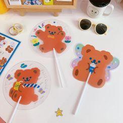 Eteum - Bear Print Plastic Hand Fan