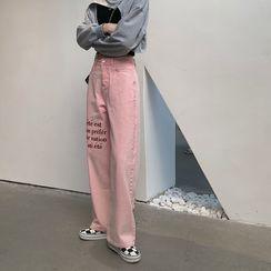 monroll - Letter Embroidered Straight Leg Jeans