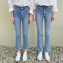 HOTPING - Washed Boot-Cut Jeans (Petite/Tall)