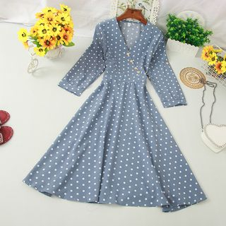 Knutsford - Dotted Long-Sleeve A-Line Dress