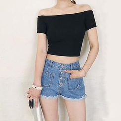 Hopsi - Short-Sleeve Cropped Top