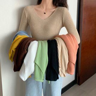 OGAWA - V-Neck Ribbed Knit Sweater