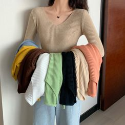 OGAWA - V-Neck Ribbed Knit Sweater