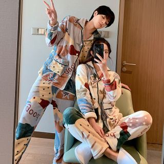 Endormi - Couple Matching Pajama Set: Lettering Color Block Fleece Shirt + Pants