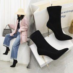 Freesia - Pointy-Toe Stiletto Heel Short Boots