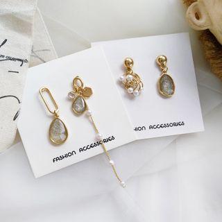 ALBIMO - Asymmetrical Faux Pearl Rhinestone Drop Earring