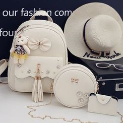 Selinda - 套装: 仿皮背包 + 斜挎包 + 小袋