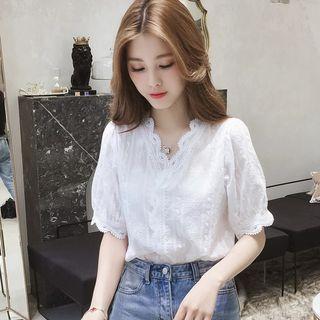 Bamela - V-Neck Lace blouse