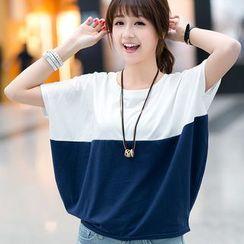 Carmenta - Batwing-Sleeve Two-Tone T-Shirt