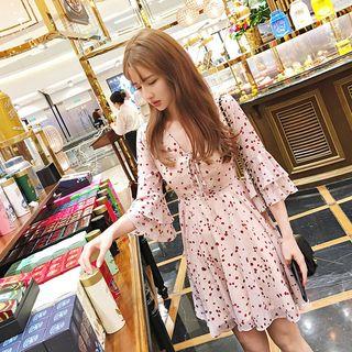 Lumierii - Bell-Sleeve Mini Floral Chiffon Dress