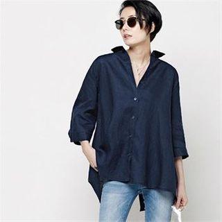 HALUMAYBE - Button-Back 3/4-Sleeve Shirt