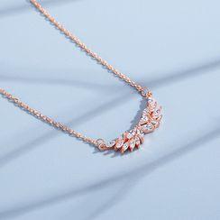BURMASTIN - 925 Sterling Silver Rhinestone Wings Pendant Necklace