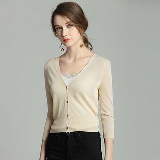 Greton - 3/4 Sleeve Plain Button Crop Light Cardigan
