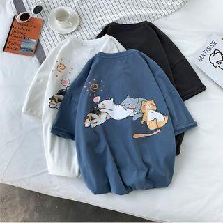 YERGO - Short-Sleeve Cat Print T-Shirt