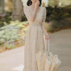 Nebbia - Short-Sleeve Lace Maxi A-Line Dress