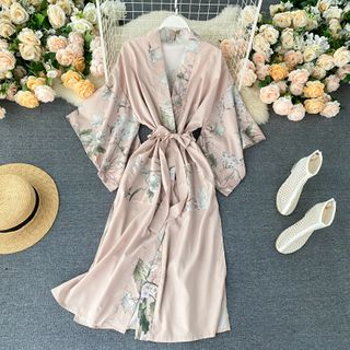 Lucuna - Floral Print Panel Silky Pajama Robe