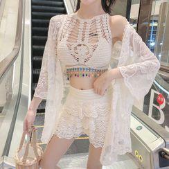 Valtameri - Set: Embellished Tankini Top + Lace Swim Shorts + Lace Coverup