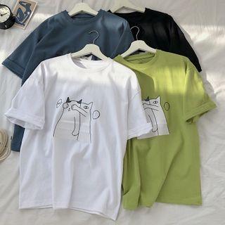 KOKAY - 猫印花短袖T裇