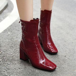 Shoes Galore - Block Heel Back Zip Short Boots