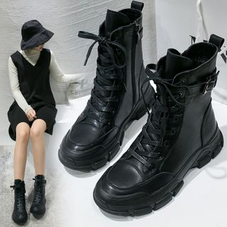 Yuki Yoru - Faux Leather Lace-Up Buckled Short Boots