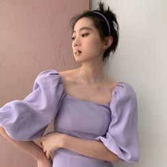 HWAJUN - Square Collar Puff-Sleeved Dress