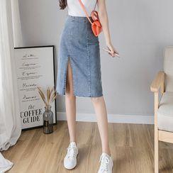 Hunspelt - Side-Slit Denim Pencil Skirt