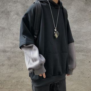 2DAWGS - 拼接袖前口袋連帽衛衣