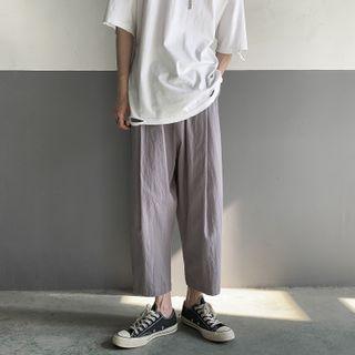 8th Sense - High-Waist Plain Cropped Pants
