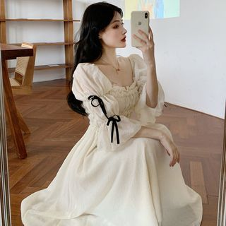 Moanum - Puff-Sleeve Shirred Midi A-Line Dress