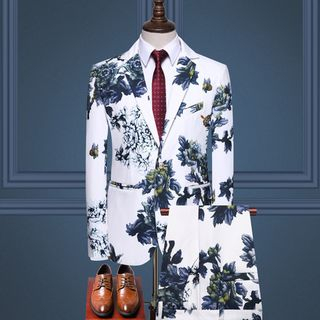 Sheck(シェック) - Set: Flower Print Blazer + Dress Pants