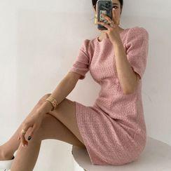 Seoul Fashion - Puff-Shoulder Tweed Sheath Dress