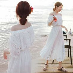 Yuxi - Cutout Off-Shoulder Midi Sun Dress