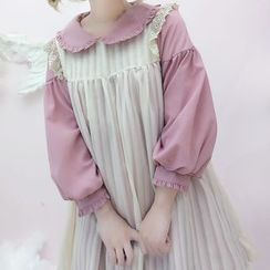 Tomoyo - Sleeveless Pleated Mini Dress / Long-Sleeve Babydoll Dress