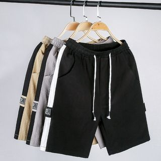 Andrei - Letter Tag Contrast Trim Shorts