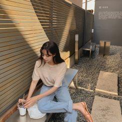 CHERRYKOKO - Mélange Linen Blend T-Shirt