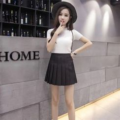 Cherry Dress - High Waist Mini Pleated Skirt