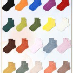 Jansi - 五件套裝:純色襪子