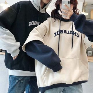 YAVER - Couple Matching Lettering Hoodie