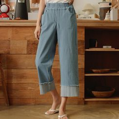 JUSTONE - Fringed Roll-Up Wide-Leg Jeans