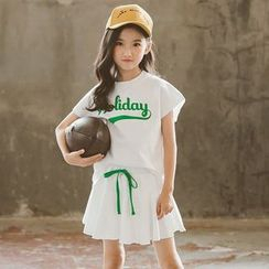 Cuckoo - Family Matching Set: Short-Sleeve Lettering T-Shirt + A-Line Skirt