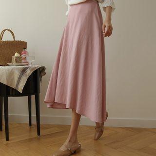 JUSTONE - Plain A-Line Midi Skirt