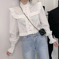 Kopti - 泡泡袖荷叶边衬衫