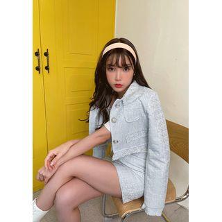 chuu - Tweed Crop Jacket & Miniskirt Matching Set