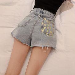 Newkoou(ニュークー) - Heart Print Denim  Shorts