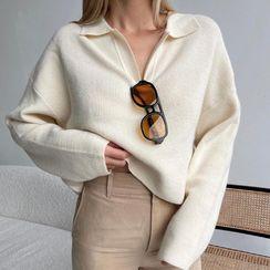 Honet - Knit Cropped Polo Shirt
