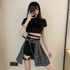 Jazzamyn - Short-Sleeve Buckled T-Shirt / Plaid A-Line Skirt / Hot Pants / Chain