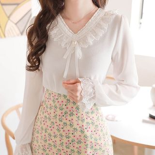 MyFiona - Lace-Trim Sheer-Sleeve Blouse
