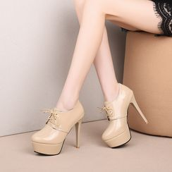 Freesia - Lace-Up Patent Platform High-Heel Shoes