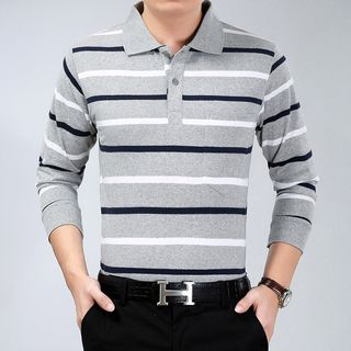 Ferdan - Long-Sleeve Striped Polo Shirt