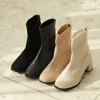 HOTPING - Block-Heel Ankle Boots in 2 Types
